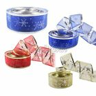 2 Yard/lot Organza Ribbons Printed Snowflake Wreath Xmas Weeding Party DIY Decor