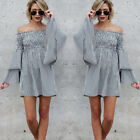 Women Off Shoulder Backless Long Sleeve Mini Dress Party One-Piece Sexy Skirts