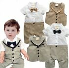 Baby Boy Wedding Christening Formal Tuxedo Outfit Romper+Waistcoat Clothes Set