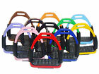 NEW FLEXI SAFETY BENDY STIRRUPS IRONS STAINLESS STEEL HORSE RIDING 11 COLOURS