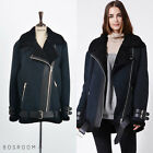 BOSROOM Women's Genuine Lambskin Oversized Cut Shearling Coat EUR 38 40 Navy