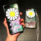 Cute Sunflower Mirror Bling Flowing Liquid Glitter Crystal Strap Soft Case Cover