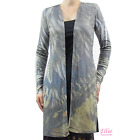 Women's Feather sublimation Ribbed Front Draped Long Sleeve Cardigan w Slit Side