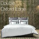 White 100% Cotton Oxford Double Edge Duvet/Quilt Cover With Pillow Cases