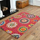 QUALITY FLORAL RED MULTI COLOUR RUG 160x230CM BEST SOFT MODERN SMALL RUG SALE
