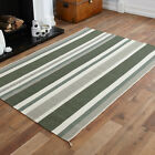 CLEARANCE LARGE MEDIUM HAND WOVEN RUG KILIM GREEN FLAT WOOL STRIPE MAT RUG SALE