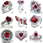 Women Fashion Jewelry 925 Sterling Silver Ruby Gem Wedding Bridal Ring Size 5-11