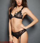 FREDERICK'S OF HOLLYWOOD Embroidered Detail 3-Piece Set in Black NEW NWT