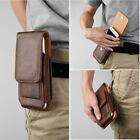 For CellPhones Brown Leather Vertical Flip Cover Pouch Swivel Hard Belt Holster