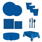 Royal Blue Party Catering Tableware Plates Cups Napkins Cutlery Tablecloth