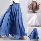 Women Summer Linen Layered Pleated Casual Maxi Long Beach Solid Skirt Dress New