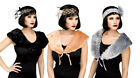 Deluxe 1920's Faux Fur Flapper Charleston Stole Black Grey Cream Fancy Dress