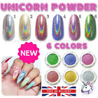 New 6 Colors Rainbow UNICORN Holographic Mirror Effect Powder Nail Art Pigment