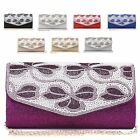 Ladies Diamante Glittery Floral Clutch Bag Cocktail Party Bridal Handbag MA35000