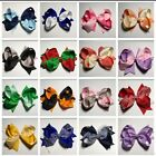 """5.5"""" 2 Colours Big Hair Bow Clip Pin Gingham School Alligator Clips Accessories"""