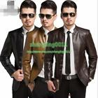 Men Slim Fit Motorcycle Leather Stand Collar Zipper Jacket Coat Outwear Top SHY
