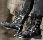 Winter WARM MENS BLACK BROWN GOTH PUNK ROCK BAND BUCKLE BOOTS Military SHOES NEW