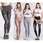 Lady Ripped Stretchy Leggings Pants Torn Skinny Slim free size - Choose Color