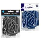 25 x standard Taille Universel Fontaine stylo encre Cartouche RECHARGES BLEU/