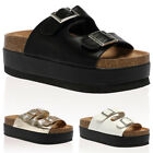 36A WOMENS BUCKLE STRAPS LADIES CUT OUT CHUNKY FLATFORMS SANDALS SHOES SIZE 3-8