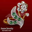 Russian Style Genuine Diamond & Emerald Ring in 14k Rose & White Gold R1553 new