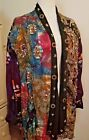 ZELL UCCI Art-to-Wear Amazing Beaded Batik Multi Print Open Front Jacket 1 Size