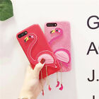 Cartoon Cute Pink Flamingo Pendant leather case Cover for iPhone 8 X 7 6S Plus 6