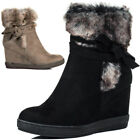 Womens Synthetic Fur Wedge Heel Ankle Boots Shoes Sz 3-8