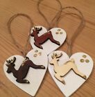 3 X Reindeer Christmas Decorations Leaping  Rustic Nordic Country Real Wood Jute