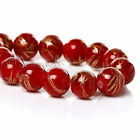 Red And Gold Wholesale 10mm Round Glass Beads G6682 - 50, 100 Or 200PCs