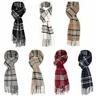 Unisex Tartan Print Scarf Wool Blend Fringing Wrap Long Scarve Cosy Fashion Gift
