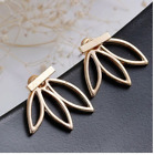 Lotus Flower Earring -Gold or Silver- Bar Stud Earrings, Open Hollow Ear Jacket