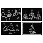 JVL Festive Silver Black Christmas Sparkle Outdoor Coir Door Mat, 40 x 60 cm