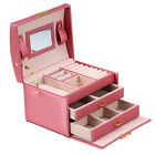 Jewelry Box Storage Case Ring Earring Necklace Mirror PU Leather Holiday Gift