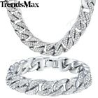 men white gold chain - Curb Cuban Mens Necklace Bracelet Chain Set White Gold Filled GF Iced Out 14mm