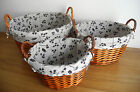 Set of 3 Wicker Baskets Nesting Laundry Storage with Handles and Washable Lining