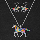 Women Gift Pendant Silver Design Enamel Horse Jewelry Necklace A Set Earring