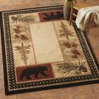 Black Bear Pine Cone Border Rug Various Sizes and Shapes with FREE Shipping