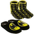 New Mens Or Boys DC Comics Batman Bat Logo Microsuede Lined Slippers Boots Mules