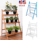 3 Tier Wooden Shelf Bamboo Flower Pot Plant Stand Display Indoor Outdoor Garden