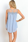 New Women's Tops Blue Lace Buttons Summer Rayon Sleeveless Sheer