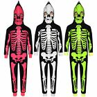 'Kids Girls Boys Skeleton Print A2z Onesie One Piece Halloween Costume 5-13 Years