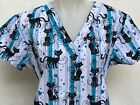 XS S M L XS 1XL 2XL 3XL 4X ANIMAL KITTY CAT HEARTS V NECK BLACK WHITE SCRUB TOP