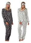 Ladies Satin Silky Pyjamas Black White CITY BREAK Lounge Buttoned with Eye Mask
