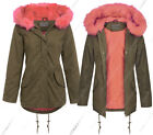 NEW Womens Oversized Hood Coral Fur Parka Coat Ladies Khaki Jacket Size 8 to 16