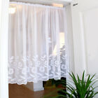 White tulips Home decorate Kitchen Lace Sheer Curtain Cafe Curtain rod pocket