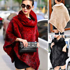 Women's 100% Real Farm Knitted Mink Fur Poncho Cape Coat Stole New Year Gift