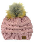 New! CC Brand Exclusive Soft Stretch Cable Knit Faux Fur Pom Pom CC Beanie Hat