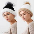 Bosroom Women's Real Soft Silver Fox Mink Raccoon Ball Mix Tone Beanie 2 Colors