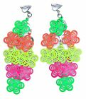 Non-Piercing Cute Clip-On Earrings for Kids Teen Girls Fluorescent Flowers